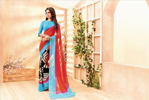Multicolored Georgette Printed Partywear Saree.