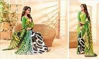 Attractive Green Chiffon Partywear Printed Saree.