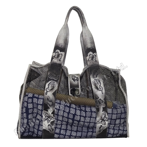 Beach Bag with Net and Leather trims