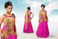 Magenta Gold Simmer Net Anarkali With Chiffon Dupatta.
