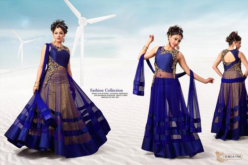 Royal Blue Net Art Silk Anarkali with Chiffon Dupatta.