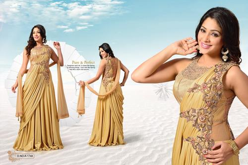 Attractive Gold Shimmer Readymade Anarkali Kameez.
