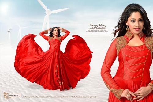 Attractive Red Art Silk Border Patch Work Anarkali Kameez