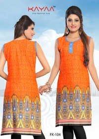 Fabulous Orange Color Printed Kurtis