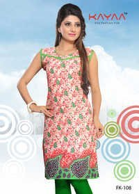 Red And Green Leaves Print Kurti