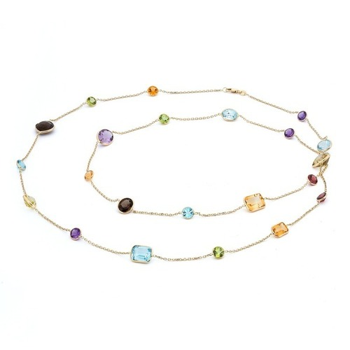 Multi Gemstone Chain Necklace
