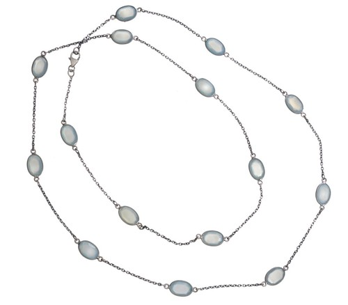 Blue Chalcedony Gemstone Chain Necklace