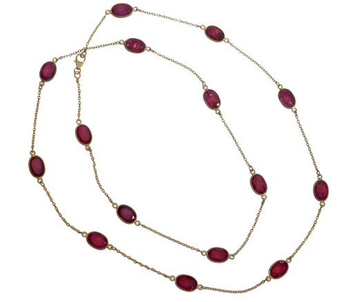 Dyed Ruby Gemstone Chain Necklace