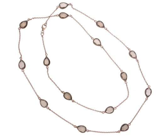 Smoky Topaz Gemstone Chain Necklace