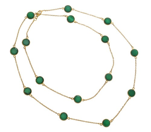 Dyed Emerald Gemstone Chain Necklace