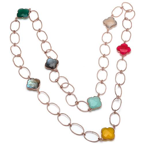 Multi Gemstone Chain Necklace