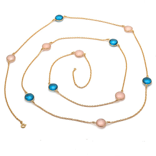 Pink Chalcedony & Blue Topaz Quartz Gemstone Chain Necklace