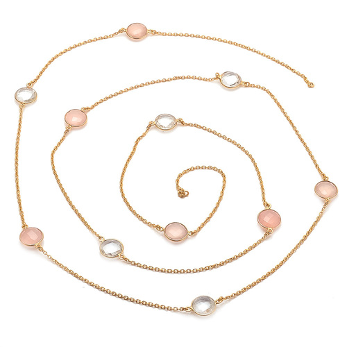 Pink Chalcedony & Crystal Quartz Gemstone Chain Necklace