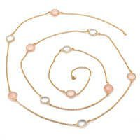 Pink Chalcedony & Crystal Quartz Gemstone Chain Necklace
