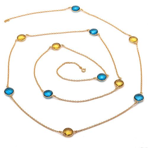 Blue Topaz & Citrine Quartz Gemstone Chain Necklace