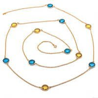 Blue Topaz & Citrine Quartz Gemstone Chain Necklace