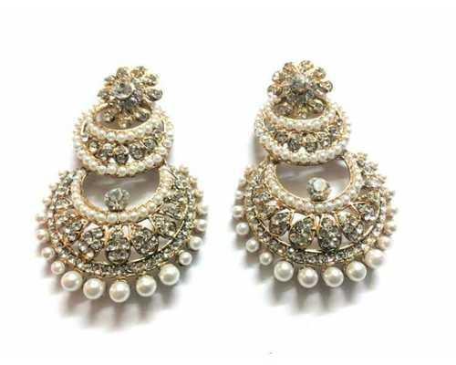 Kundan Pearl Stone Studded Earrings