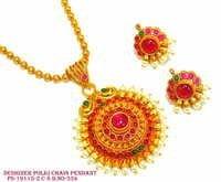 Designer Polki Chain Pendant,Polki Pendant