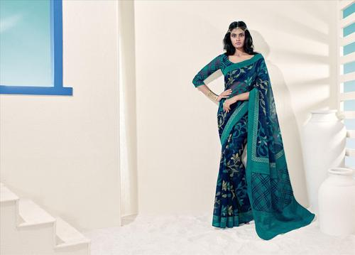 Splendid Blue Normal Style Bordered Saree.