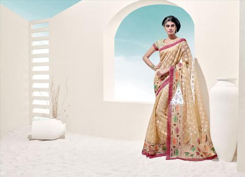 Stylish Beige Normal Style Bordered Saree