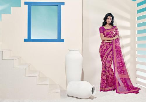 Attractive Pink Normal Style Bordered Saree.
