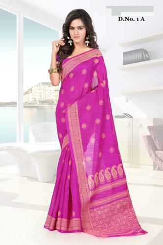 Stylish Pink Rich Pallu Printed Partywear Saree