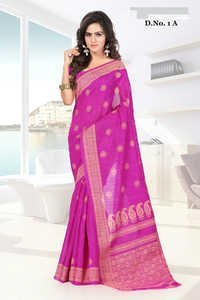 Stylish Pink Rich Pallu Printed Partywear Saree