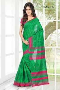 Attractive Green Nep Silk Printed Partywear Saree