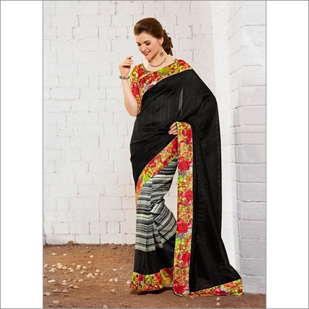 Stylish new black khadi silk saree