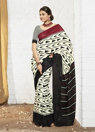 New white and red khadi silk saree