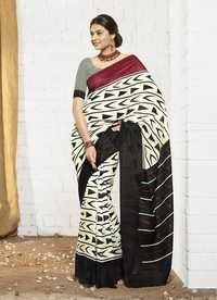 New white and red khadi silk saree