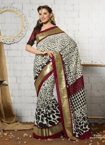White new stylish khadi silk saree