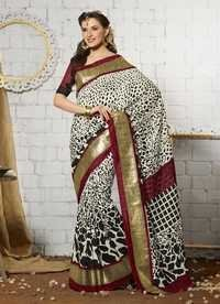 White new stylish khadi silk saree