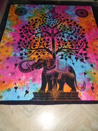 MULTICOLOURS TREE ELEPHANT TAPESTRY
