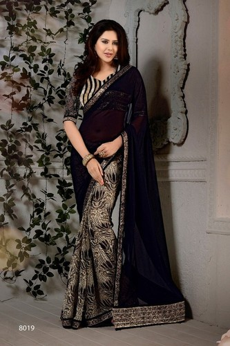 Black Georgette Sequins Zari Lace Border Work Saree