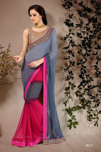 Multicolored Georgette Patch Zari Lace Border Work Saree