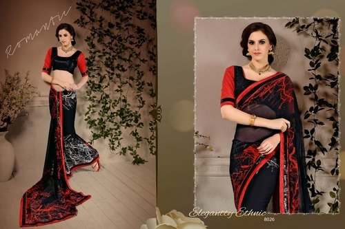Black Georgette Sequins Zari Work Designer Saree