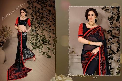 Black Georgette Sequins Zari Work Designer Saree