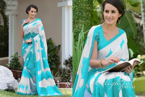 Buy new sky blue khadi silk saree