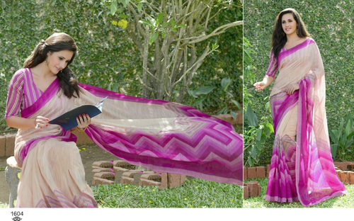Pink Stylish Printesd Khadi Silk Saree