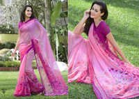 Pink stylish printesd khadi silk saree With dhupion bhlouse