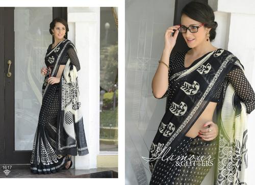 Black New Printed Saree on Khadi Silk