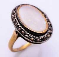 White Opal & Diamond Gemstone Victorian Ring