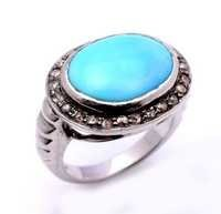 Turquoise & Diamond Gemstone Victorian Ring