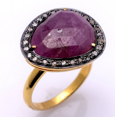 Ruby & Diamond Gemstone Victorian Ring