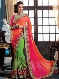Multicolor Chiffon georgette and jacquard designer saree