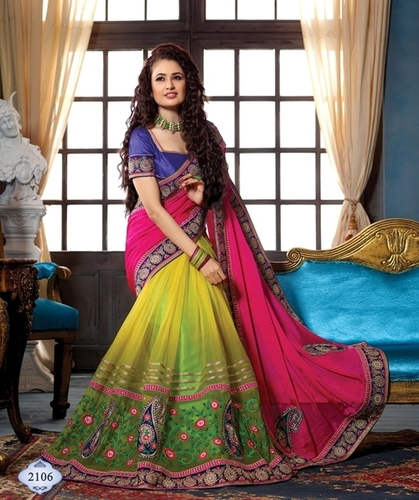 Multicolored Chiffon and Net Designer Saree