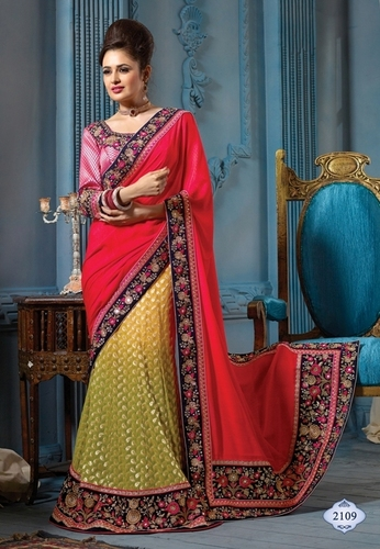 Red and Green Designer Fancy Saree