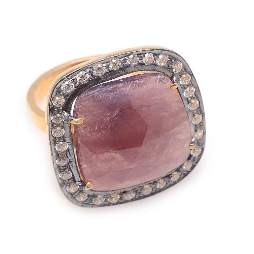 Natural Ruby & Diamond Gemstone Victorian Ring