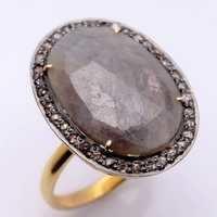 Sapphire & Diamond Gemstone Victorian Ring